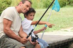 Pesca do pai e do filho Foto de Stock Royalty Free