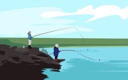 Pesca do pai e do filho Vetor Fotografia de Stock Royalty Free