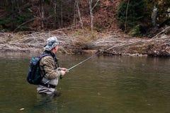 Pesca do timalo no rio da montanha foto de stock