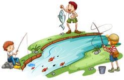 Pesca dos meninos ilustração stock