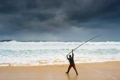 Pesca durante la tormenta Fotografía de archivo