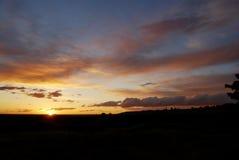 Pesca e tramonto del blu di bambino Fotografie Stock Libere da Diritti