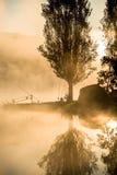 Pesca en el amanecer Fotos de archivo libres de regalías
