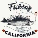 Pesca en el cartel dibujado mano de California Fotografía de archivo