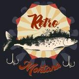 Pesca en el cartel dibujado mano de Montana Fotos de archivo
