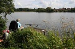 Pesca en el lago Imagen de archivo libre de regalías