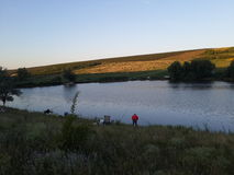 Pesca en el lago Fotografía de archivo
