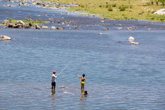 Pesca en el río de Giăng Fotografía de archivo libre de regalías