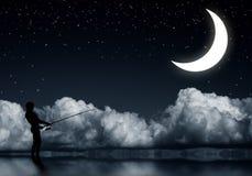 Pesca en la noche Imágenes de archivo libres de regalías