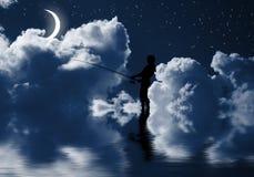 Pesca en la noche Fotografía de archivo libre de regalías
