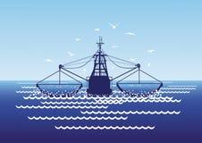 Pesca en las redes barrederas de mar Foto de archivo libre de regalías