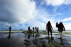 Pesca en Muriwai imagenes de archivo