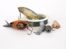 Pesca i richiami e della riga Fotografie Stock Libere da Diritti