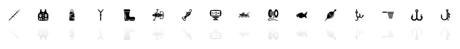 Pesca - iconos planos del vector Foto de archivo