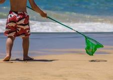 Pesca indo do menino Fotografia de Stock