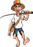 Pesca indo do pescador dos desenhos animados Foto de Stock