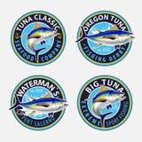 Pesca le etichette, i distintivi, gli emblemi e degli elementi di progettazione Illustrazioni del tonno Fotografia Stock Libera da Diritti