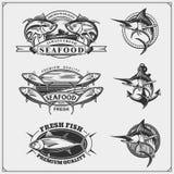 Pesca le etichette, i distintivi, gli emblemi e degli elementi di progettazione Illustrazioni del tonno e di Marlin illustrazione vettoriale
