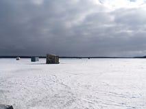 Pesca luminosa del ghiaccio Fotografia Stock Libera da Diritti