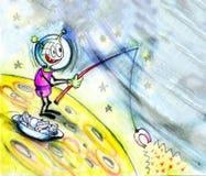 Pesca marciana no espaço. Mundo de fantasia. Cena cômica Imagem de Stock Royalty Free