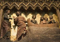 Pesca miraculosa com christ - Notre Dame fotos de stock