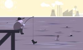 Pesca na arte do lugar da indústria da fábrica da poluição - vetor ilustração stock