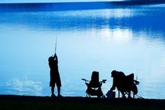 Pesca na aurora Fotografia de Stock