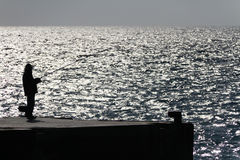 Pesca na borda do oceano Imagens de Stock Royalty Free