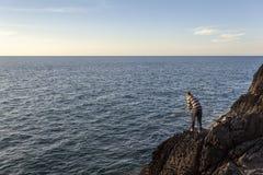 Pesca na costa de Ceredigion fotografia de stock royalty free