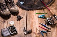 Pesca na engrenagem inferior Equipamento do alimentador Pesca dos alimentadores fotografia de stock royalty free