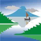 Pesca na ilustração do lago da montanha ilustração do vetor