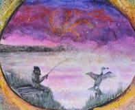 Pesca na névoa antes do alvorecer ilustração do vetor