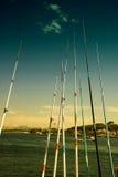 Pesca na ponte de Galata fotografia de stock royalty free