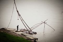 Pesca nella porcellana della provincia del fiume Chang Jiang Wuhan Hubei fotografia stock libera da diritti