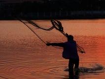 Pesca neta en aciton Imágenes de archivo libres de regalías