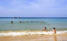 Pesca netta nella spiaggia Immagine Stock Libera da Diritti