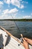 Pesca no barco Fotografia de Stock