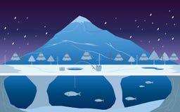 Pesca no gelo na paisagem do inverno Imagem de Stock