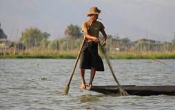 Pesca no lago Inle Imagem de Stock
