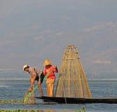 Pesca no lago Inle Imagem de Stock Royalty Free