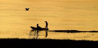 Pesca no por do sol Foto de Stock