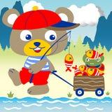 Pesca no rio ilustração stock