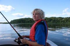 Pesca nova do menino Imagem de Stock