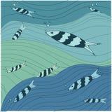 Pesca o teste padrão do vetor do mar ilustração royalty free