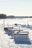 Pesca para el tomcod en Quebec Foto de archivo