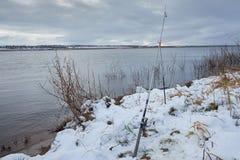 Pesca para girar na primeira neve imagem de stock royalty free