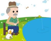 Pesca para los ancianos Imagen de archivo libre de regalías