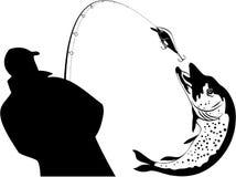 Pesca, pescatore e luccio, illustrazione di vettore Fotografia Stock