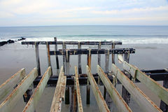 Pesca Pier After Hurricane Sandy Foto de Stock Royalty Free