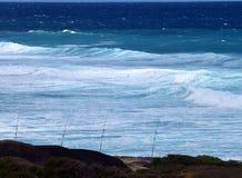 Pesca polos e o mar Fotografia de Stock